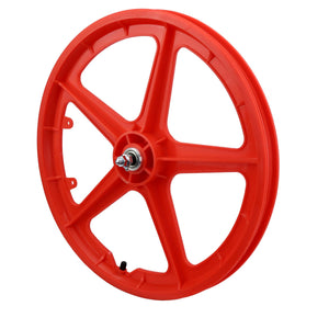 "20"" Front STRAIGHT 5 ""RED"" BMX 5 Spoke Mag Nylon wheel in RED 20D"