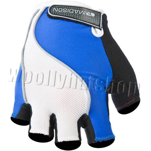 Madison Rouleur Mens Cycling Fingerless Mitts Blue / White X LARGE