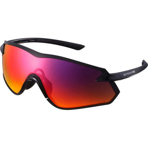 Shimano S-PHYRE X Glasses, Metallic Black, Polarized Red Mirror Lens