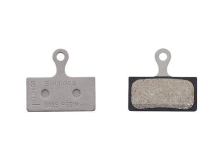 Shimano G02S disc brake pads, steel backed, resin