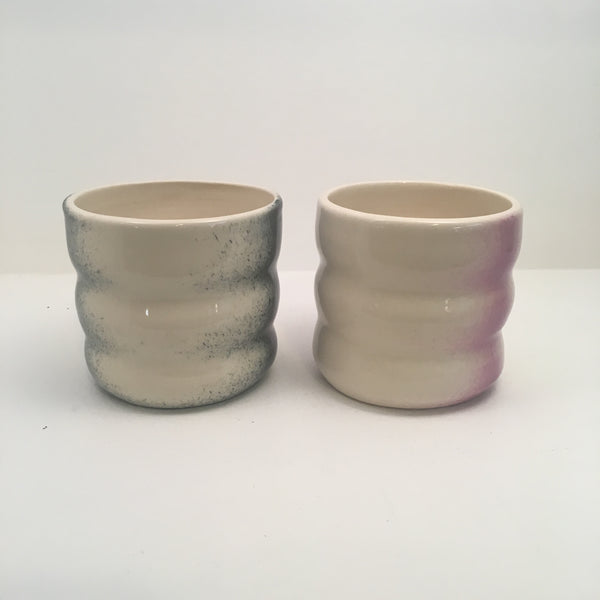 Two Porcelain Tumblers - Black and Violet Detail