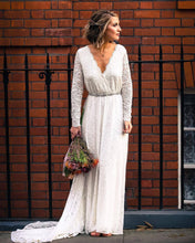 Load image into Gallery viewer, Ivory Wrap Floral Lace Long Sleeve Gown with a Train  1151
