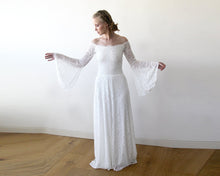 Load image into Gallery viewer, Long Bell Sleeve Lace Wedding Dress Elopement Lace