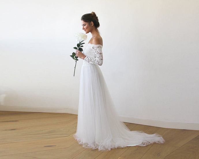 Ivory Off-The-Shoulder Lace and Tulle Train Wedding Gown 1162