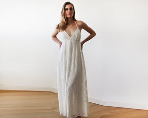 Lace V-neck Beach Wedding Maxi Dress 1140