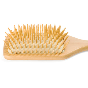 "Wooden Bristle Paddle Hair Brush | Length 10.25"" Width 3.5"" 