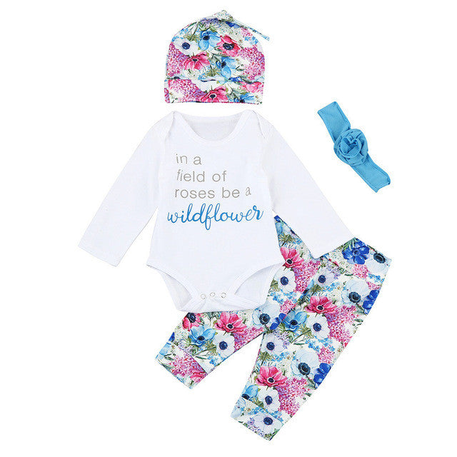 Newborn Baby Girls Set Autumn Long Sleeve Letter Bodysuits Floral Pants Headband Hat Outfits Cotton Girl Clothing 4PCs