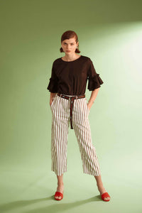 Pantalone donna in viscosa a righe
