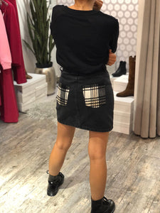 Mini in denim con patte tartan
