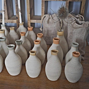 Bespoke, mid-century modernist, hand-made, natural, stoneware diffuser/ bud vases