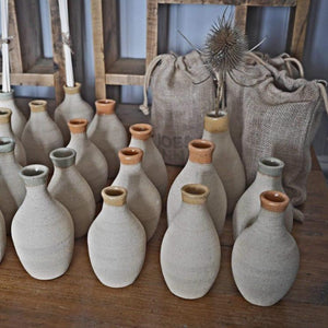 Bespoke, mid-century modernist, hand-made, natural, stoneware diffuser/ bud vases Joe and Anna Marketplace