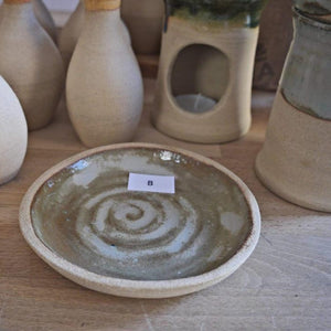 Bespoke, mid-century modernist, hand-made, natural, stoneware dishes