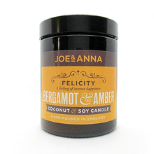 Load image into Gallery viewer, Bergamot & Amber coconut & soy wax candle 180ml jar Joe and Anna Marketplace