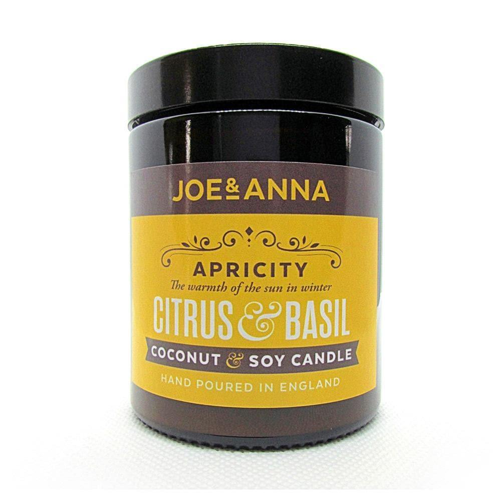 Citrus & Basil coconut & soy wax candle 180ml jar Joe and Anna Marketplace