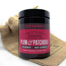 Load image into Gallery viewer, joe-and-anna-marketplace - Plum & Patchouli coconut & soy wax candle 180ml jar - Joe and Anna Marketplace -