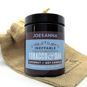 joe-and-anna-marketplace - Tobacco & Oak coconut & soy wax candle 180ml jar - Joe and Anna Marketplace -