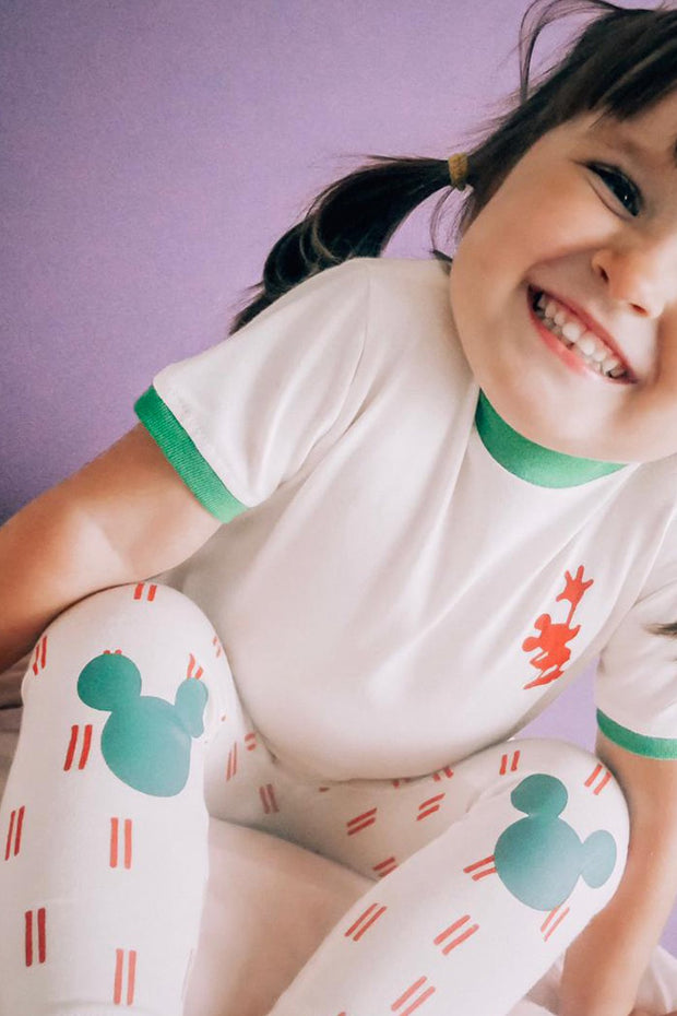 Camiseta verde + legging Mickey