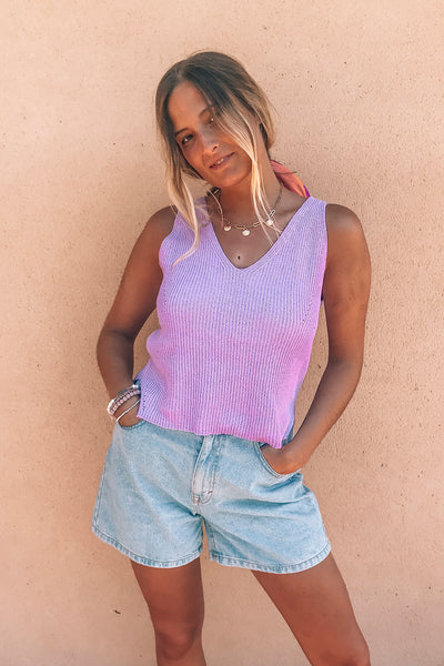Crop top de punto - Lila