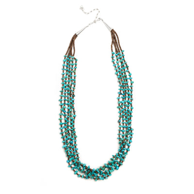 Joe Pacheco Turquoise Five Strand Heishi Necklace