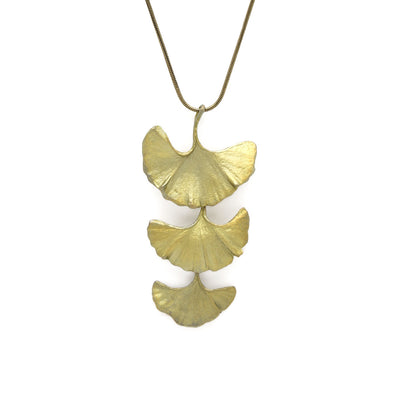 Ginkgo Triple Leaves Necklace