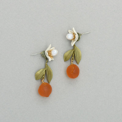 Orange Blossom Flower Drop Post Earrings