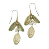 Boxwood Large Leaf and Pearl Wire Drop Earrings
