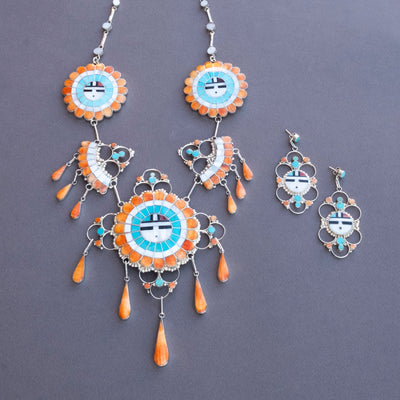 J.D. Massie Five Piece Zuni Multi Stone Necklace with Earrings
