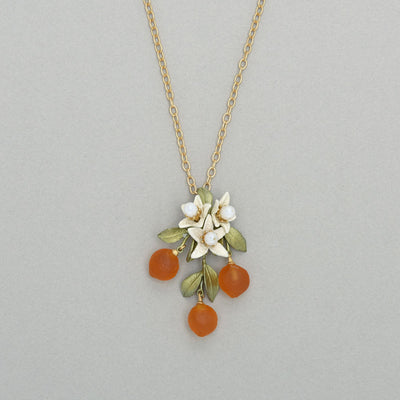 Orange Blossom Flower Drop Necklace