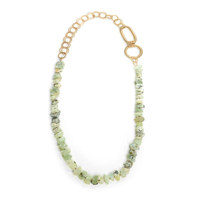 Green Garnet and Piano Wire Necklace