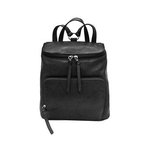 Top Zip Leather Backpack