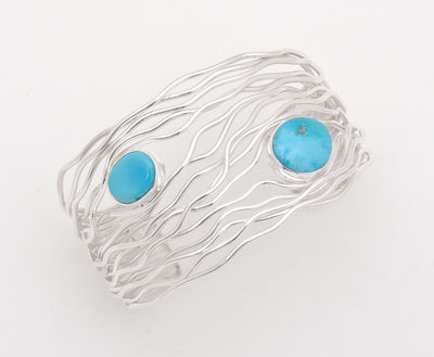 Angela Martin Sleeping Beauty Turquoise Silver Branch Wire Bracelet