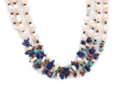 Cheryl Lucero Freshwater Pearl and Multi Stone Necklace
