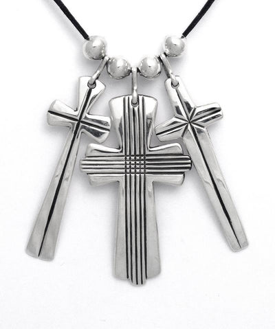 Cippy Crazyhorse Sterling Silver Triple Cross Necklace