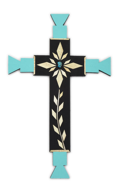 Carlton Gallegos Santa Ana Pueblo Straw Applique Cross