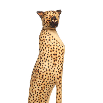 Large Hand Carved Cheetah Sitting Sculpture