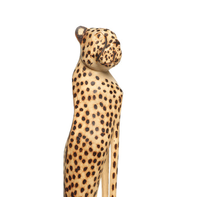 Medium Hand Carved Cheetah Sitting Sculpture