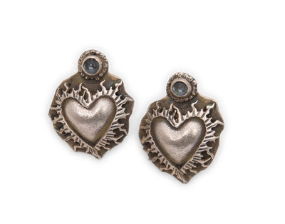 Lawrence Baca Sacred Heart Moonstone Post Earrings