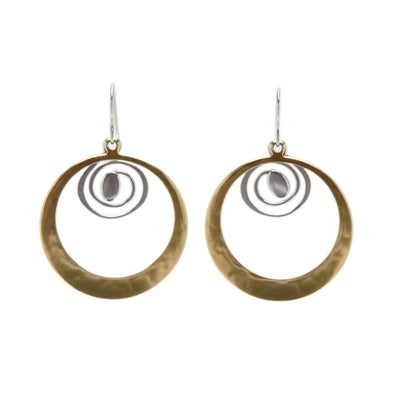 Brass Spiral with Sterling Silver Discs Earrings by Marjorie Baer