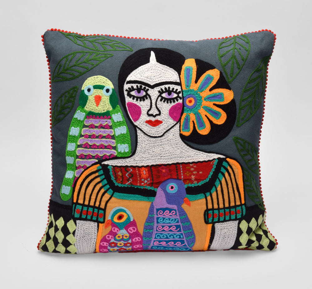 Frida Kahlo Con Pericos Pillow - Museum of New Mexico