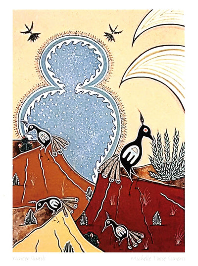 "Michelle Tsosie Sisneros ""Winter Quails"" Note Card"