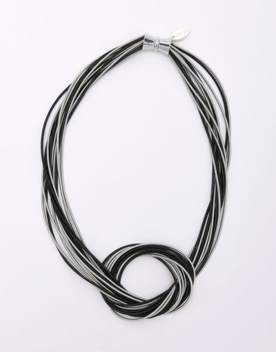 Large Knot Silver and Black Piano Wire Necklace