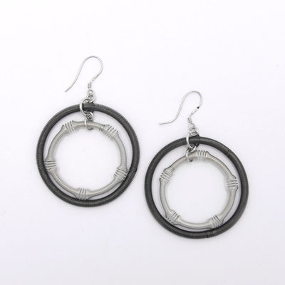 Silver and Slate Double Loop Textured Piano Wire Earrings