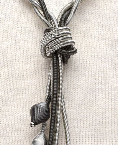 Silver and Slate Braided Lariat Necklace with Cluster