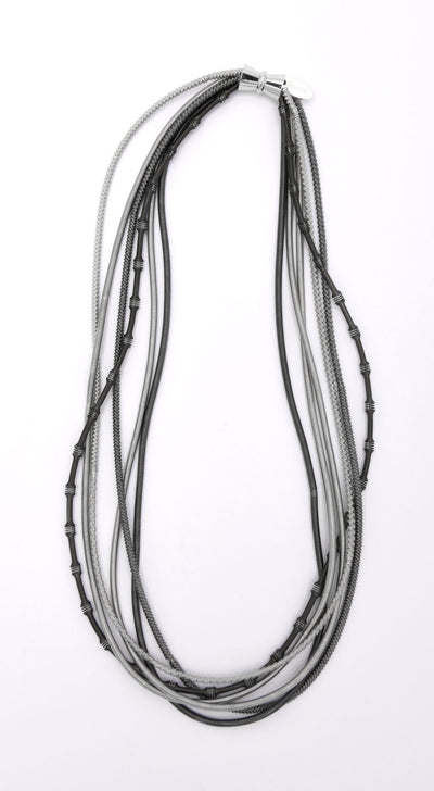 Silver and Slate Textured Piano Wire Necklace