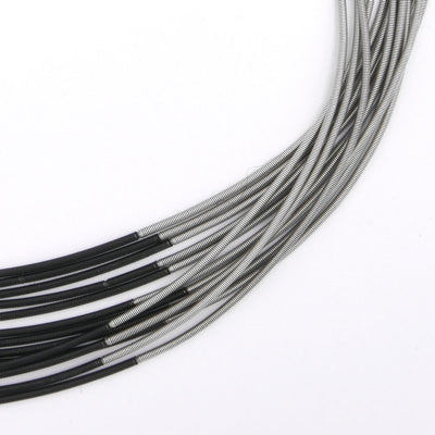 Silver and Black Tube Piano Wire Necklace