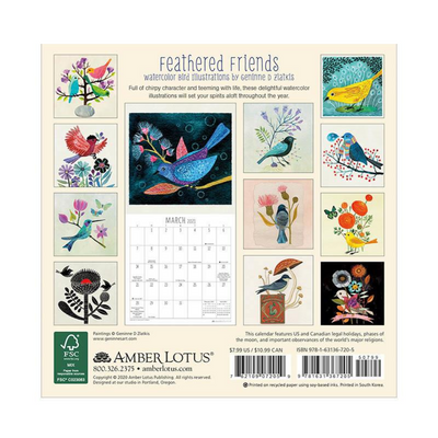 Feathered Friends 2021 Mini Wall Calendar