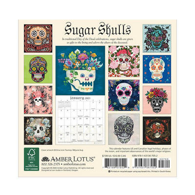 Sugar Skulls 2021 Mini Wall Calendar