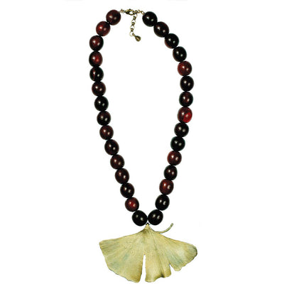 Large Ginkgo Leaf Necklace with Red Horn Beads