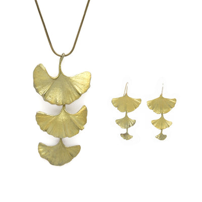 Ginkgo Drop Wire Earrings