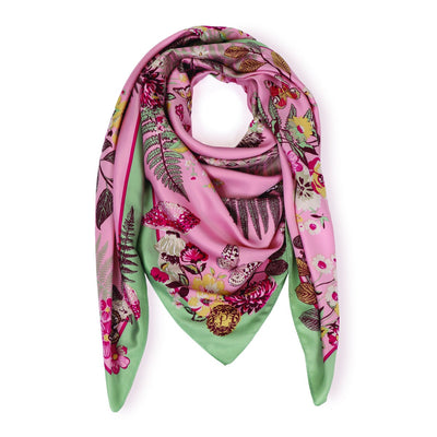 Floral Hedgehog Satin Square Scarf